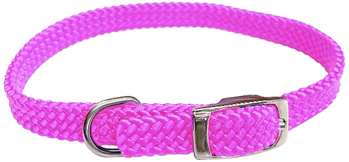 Hot Pink 5 8 by 14-Inch Hot Pink 5 8 by 14-Inch Hamilton Poppies Series Flat Braid Nylon Dog Collar, 5 8 by 14-Inch, Hot Pink