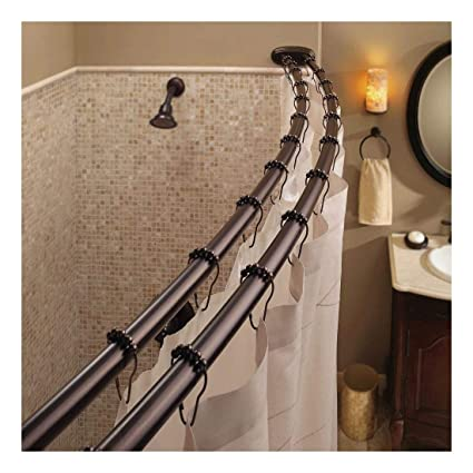 Image Unavailable Not Available For Color Double Curved Shower Curtain Rod Adjustable Crescent Fixture Oil Rubbed Bronze