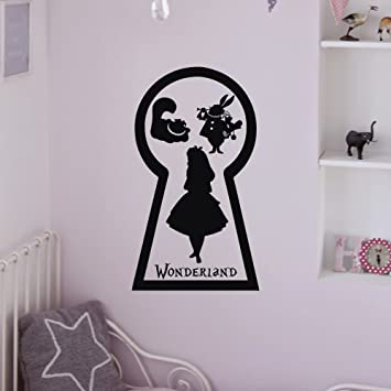 Alice In Wonderland Wall Decal White Rabbit Cheshire Cat Keyhole Lewis  Carroll Decals Wall Art Nursery
