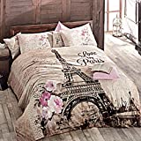 Deconation 100% Cotton Comforter Set Single Twin Full Size Paris Autumn in Eiffel Tower Floral Theme Bedding Linens Quilt Doona Cover Sheets (Single / Twin)