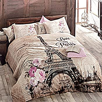 Lovely Paris Home 100% Cotton 4pcs Single Twin Size Comforter Set Eiffel Tower In  Spring Floral
