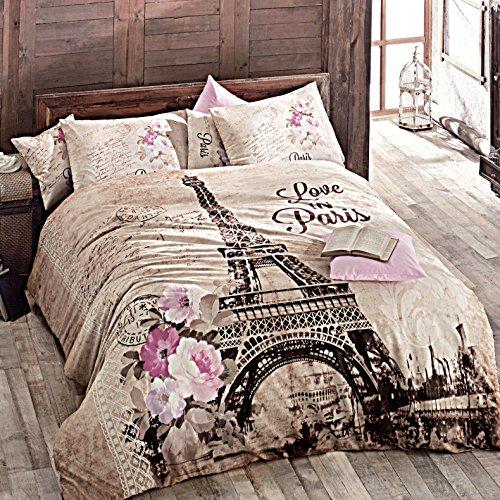 Deconation 100% Cotton Comforter Set Single Twin Full Size Paris Autumn in Eiffel Tower Floral Theme Bedding Linens Quilt Doona Cover Sheets (Single / Twin) (Twin Paris Sheets)