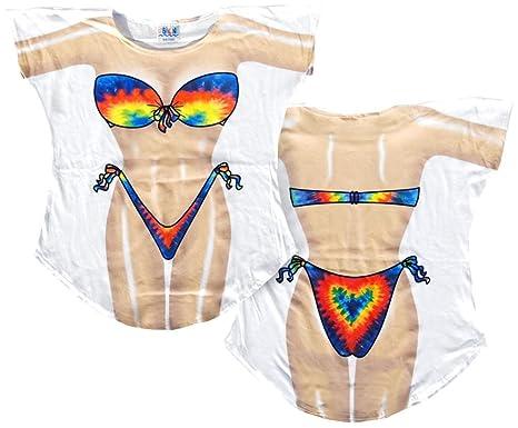 3cb8ef6d408d7 Amazon.com  LA Imprints Women s Plus Tie Dye Fantasy Coverup T-Shirt ...