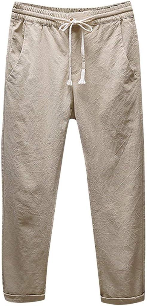 Overdose Pantalones De Lino para Hombres Pantalones Largos Sueltos Transpirables Ocasionales Pantalones Rectos De Color Sólido Pantalones Anchos De Vestir