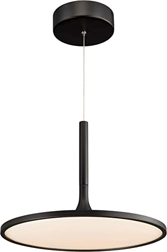 VONN VMC31810BL Salm 17 , Height Adjustable Fixture, Modern Disc Chandelier Lighting in Black Integrated LED, 17.25 L x 17.25 W x 120 15 H