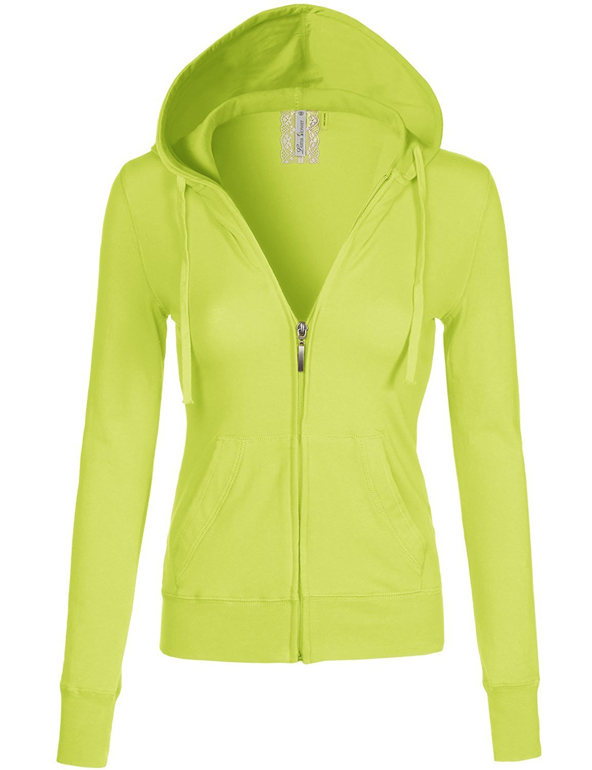 Luna Flower Women's Long Sleeve Slim Fit Kangaroo Pocket Zipper Hoodie Jackets Lime S (LFWHD0029)