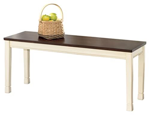 Signature Design by Ashley – Whitesburg Large Dining Room Bench – Casual Style – Brown Cottage White