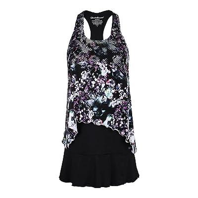 DENISE CRONWALL Women`s Tennis Dress Black and Print-(DR811VDB-H17)