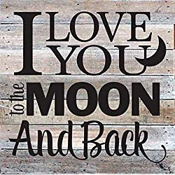 "Artistic Reflections Pallet Art RE1035w I Love You to The Moon and Back, 10.5"" x 10.5"", White"