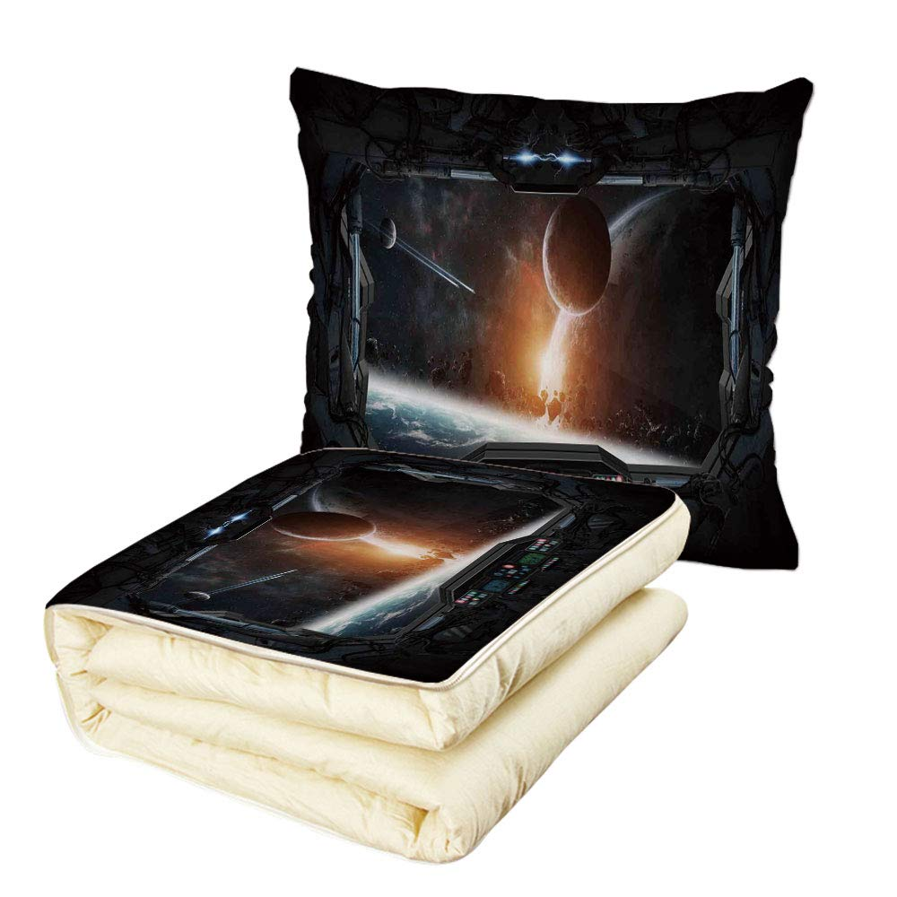 iPrint Quilt Dual-Use Pillow Outer Space Decor Scenery of Planets from The Window of a Shuttle Bodies Astronaut Look Multifunctional Air-Conditioning Quilt Gray Orange