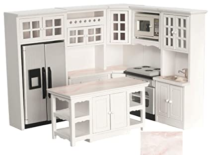 Amazon Com Dollhouse Miniature Kitchen Set 8 Pc White Faux