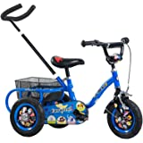 Tauki 10 Inch Kids Tricycle with Adjustable Push Bar, Kid's Trike