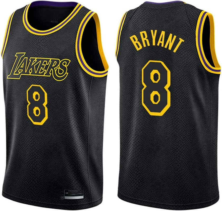 XSJY De Las Mujeres De Los Hombres Jersey - NBA Lakers Kobe Bryant # 8 Jerseys del Ventilador De Baloncesto Transpirable Bordado Alero Jersey Baloncesto Camiseta