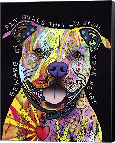 (Beware of Pit Bulls by Dean Russo Canvas Art Wall Picture, Museum Wrapped with Black Sides, 22 x 28 inches)