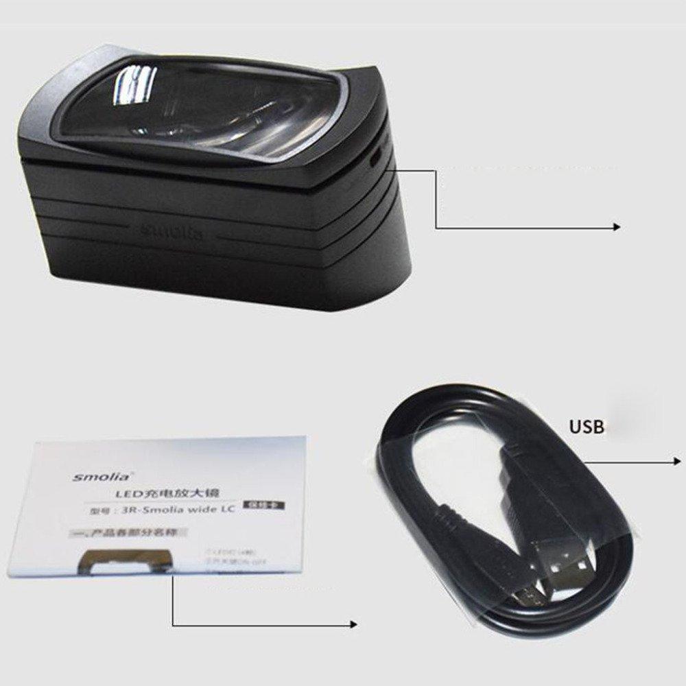 LDFN Lupa Cuadrada HD Para Tercera Edad Lean HD Cuadrada Luminosa Múltiple Lupa,Negro-1156075mm ad3d74
