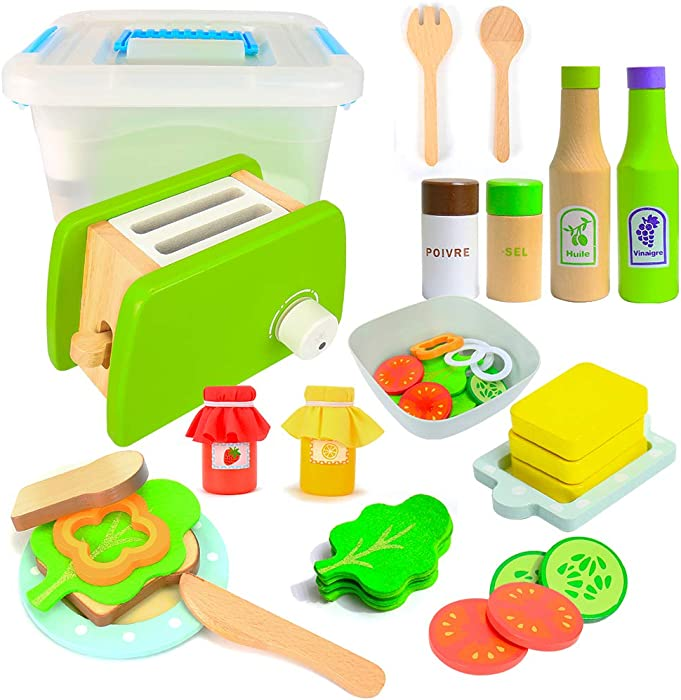SAULEOO Kids Kitchen Pretend Play Toys, 34Pcs Kids Playset with Wooden Toaster, Play Kitchen Accessories, Cut Play Food Toys for Girls Boys Toddlers