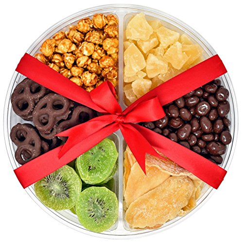 Gift Universe Valentines Day Gift Tray with Chocolate Covered Pretzels, Dried Kiwi, Dried Mangoes, Caramel Popcorns, Chocolate Covered Raisins and Dried Pineapple Tidbits, 1.6 Lbs (726g)
