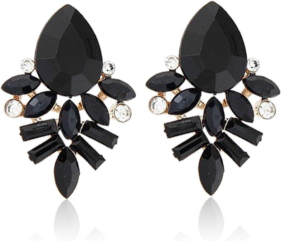 Emorias 1Pair Zircon Pendientes de Cristal Artificial Lujo Negro Piedras Preciosas Pendientes de Mujer de Moda Joyería Accesorios (Negro)