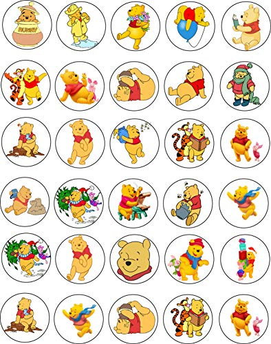 30 x Edible Cupcake Toppers - Winnie the Pooh Themed Collection of Edible Cake Decorations | Uncut Edible Prints on Wafer Sheet