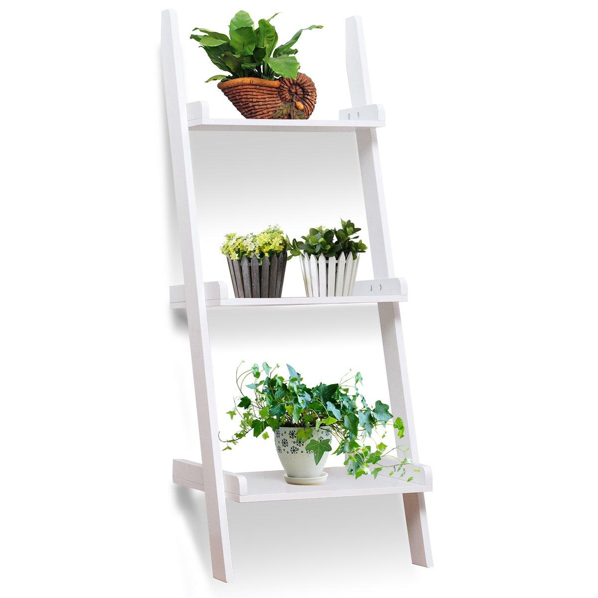 Giantex 3-Tier Leaning Wall Bookshelf Ladder Storage Display Bookcase Ladder Shelf Multipurpose Plant Flower Stand Shelf (White)