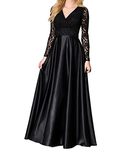 Beilite Women's Satin Lace Evening Dresses Long with Sleeves