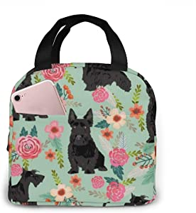 NiYoung Women Men Teens Black Scottie Dog Lunchbox for Office School Work, Compact Insulated Thermal Totebag Lunch Organizer, Heat-Resistant Carry Case Organizer Food Bag