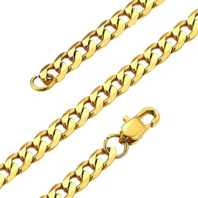 18K Gold Plated//Stainless Steel//Black Rhodium Plated Chain Necklace for Men Women GoldChic Jewelry 4//6mm Flat Round Box Link Chain,Free Engraved 14-30