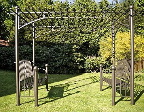 CLP XXL arco para rosas con 2 madera, Pergola carpa, tamaño: 310 x 185 cm, altura 230 cm, hierro Antracita