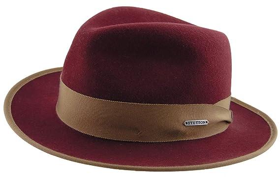 179e66aba47 Stetson Men s Fedora Hat Red red Medium - Red - M  Amazon.co.uk ...