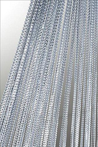 Fadenvorhang Fadengardine mit Lurex veredelt Gardine Vorhang silber 140x250 cm