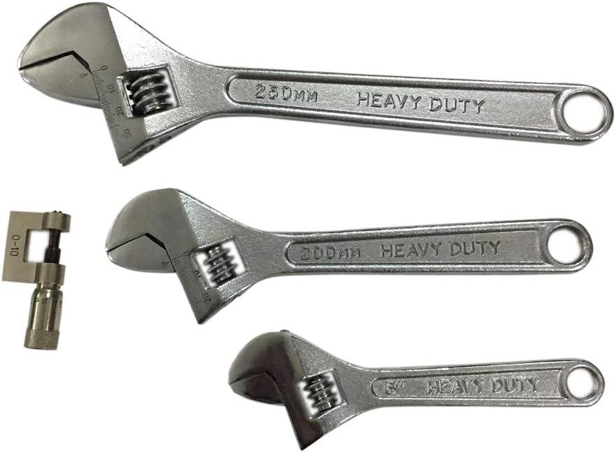 3 piezas, 150 mm, 200 mm, 250 mm, incluye micr/ómetro de 0 a 10 mm Kosma Juego de llaves inglesas ajustables