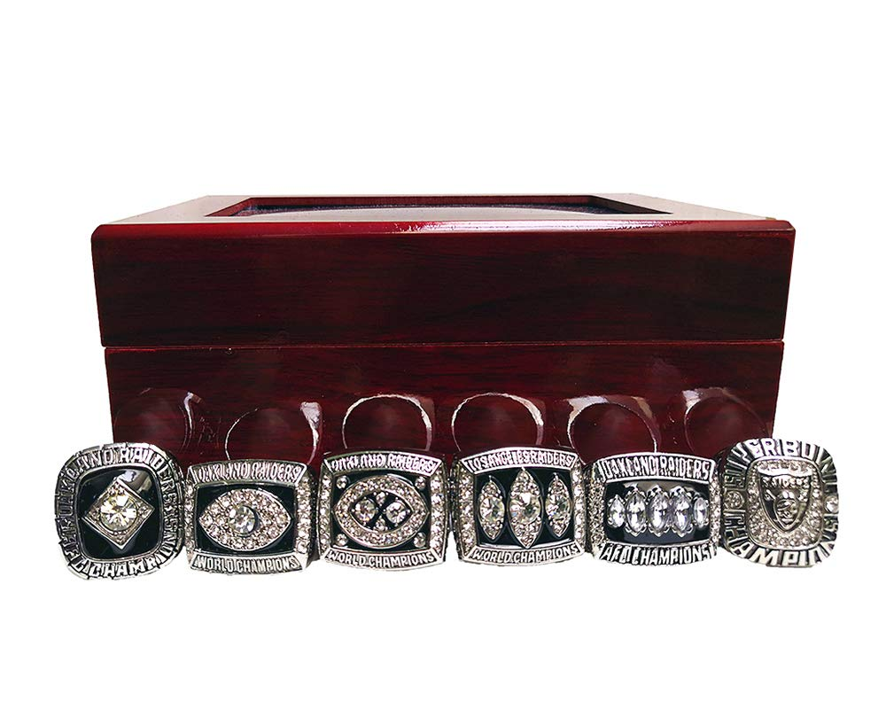 Gloral HIF Oakland Raiders Championship Ring Super Bowl & AFC 1967 1976 1980 1983 2002 Replica Ring with Display Box