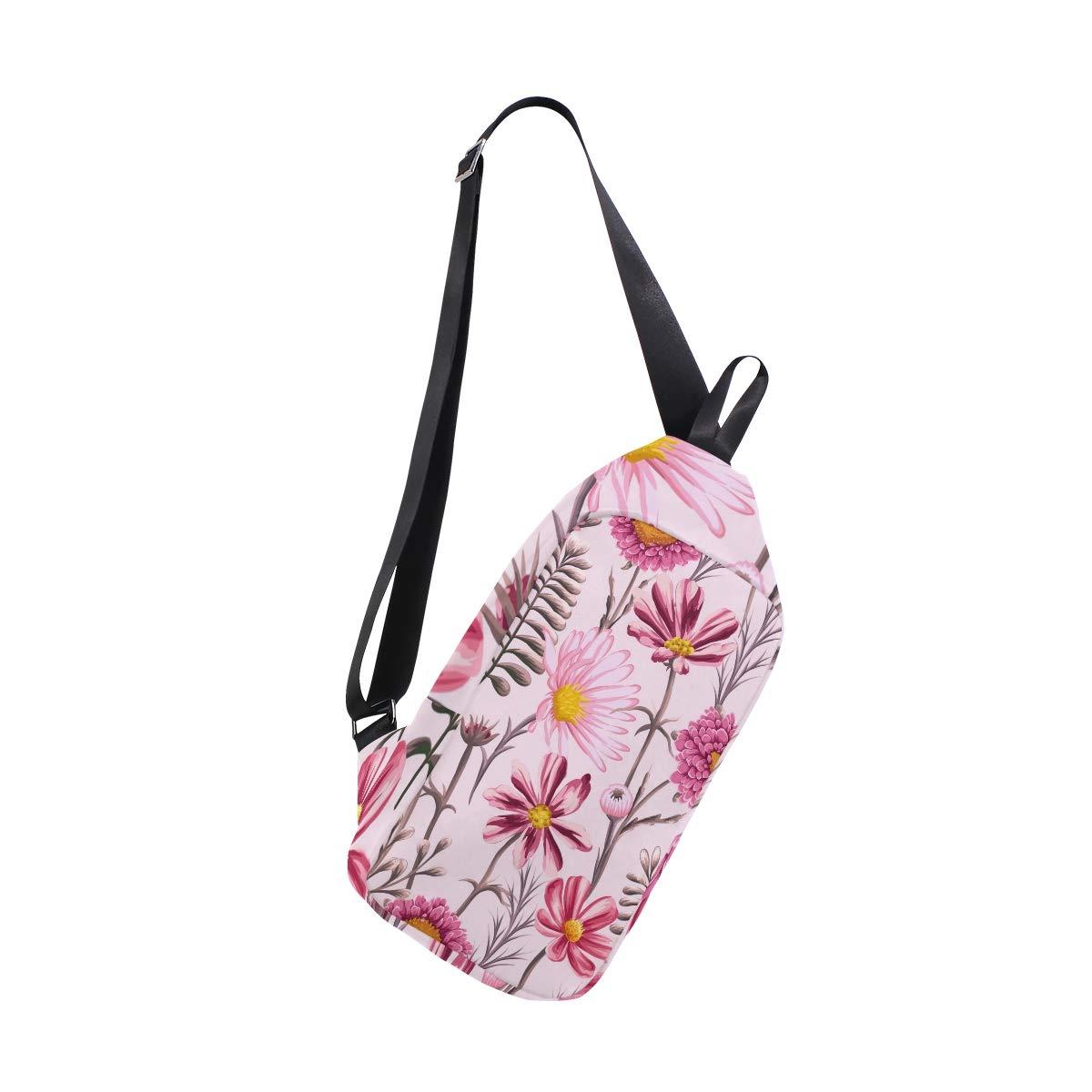 AHOMY Watercolor Flowers Tropical Messenger Bag Small Travel School Sling Bag Crossbody Bag