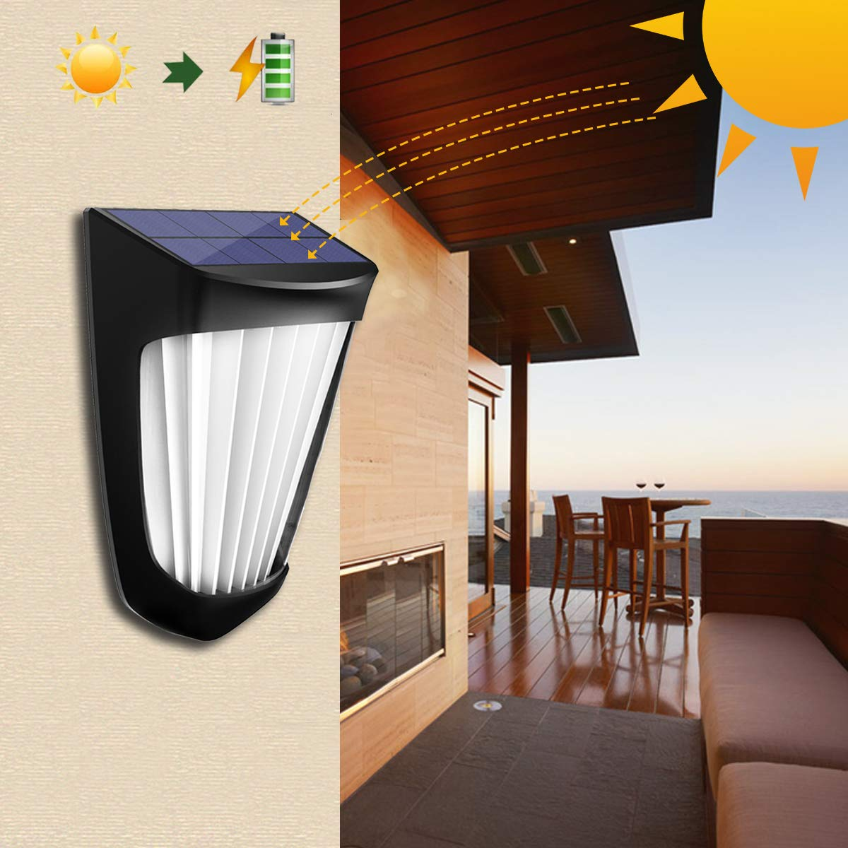 OPERNEE Solar Lights Outdoor, (2 Pack) Wireless 10 Led Solar Fence Lights Waterproof Auto ON/Off Wall Decorative Lights for Porch, Patio, Deck, Yard, Garden by OPERNEE (Image #3)
