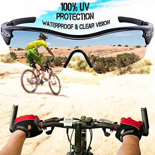 RIVBOS 805 POLARIZED Sports Sunglasses Glasses with 5 Set Interchangeable Lenses for Cycling TR90 Black ice lens