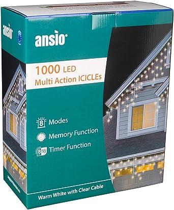 120 LED Warmweiß und Kalt IP44 X Außen Kabel 6 MT White Flash Lights Weihnachten