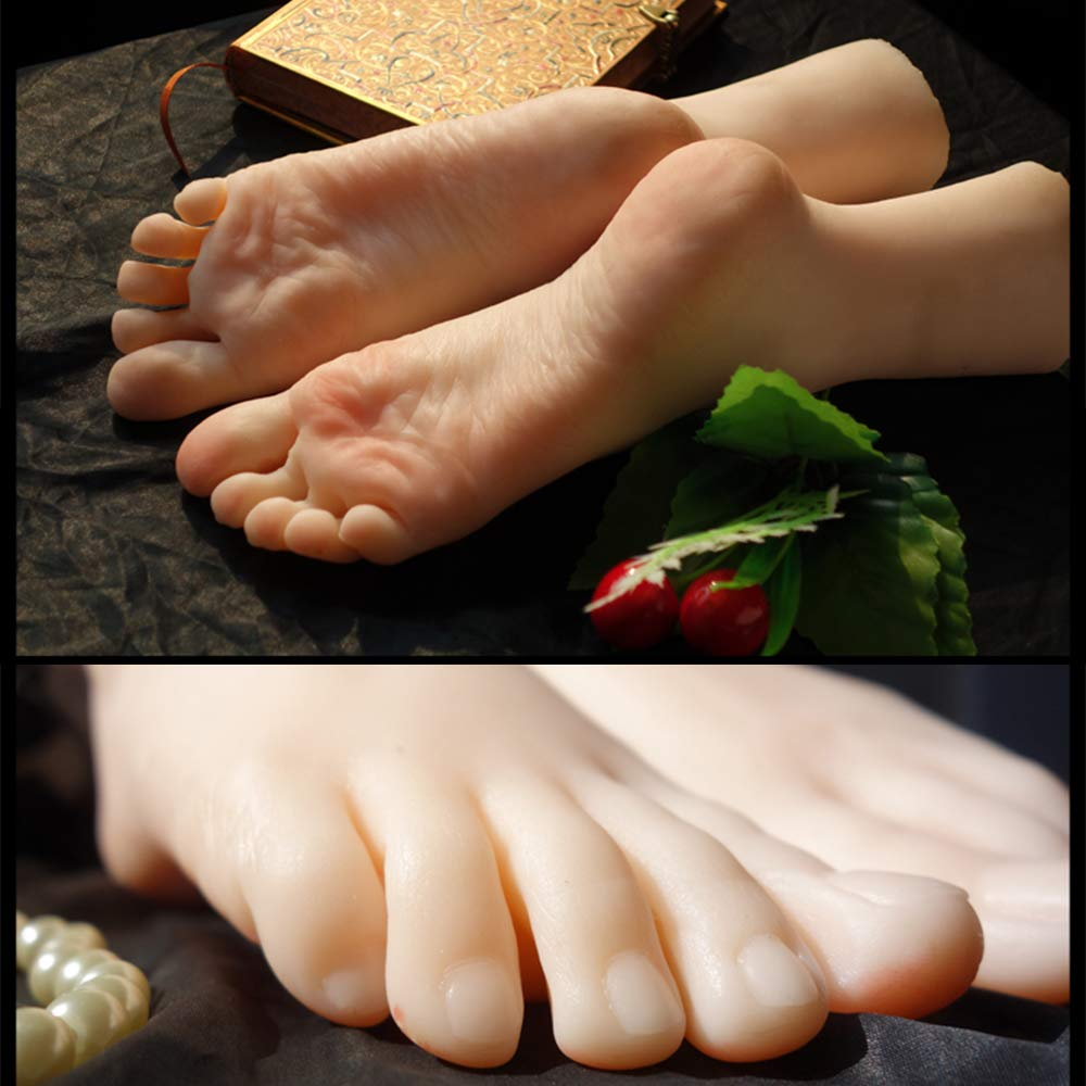 Wanky 1 Pair Silicone Life Size Female Mannequin Foot Display Fetish Jewerly Sandal Shoe Sock