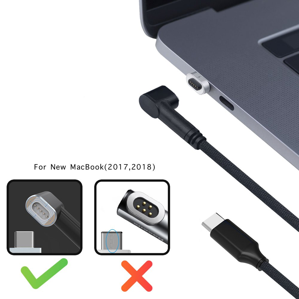 Magnetic Charging Cable for MacBook Pro, USB C Magnetic Cable 4.35A 87W Fast Charge USB C to USB C Magnetic Braided Nylon Cord for MacBook Pro 2017/2018 – 6.6 FT Black