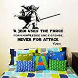 Wall Decal Quote Vinyl Sticker Star Wars Yoda Quotes a Jedi Uses the Force for Knowledge and Defense, Never for Attack Children Nursery Kids Boys Room Office Window Wall Vinyl Decal Stickers Bedroom Murals