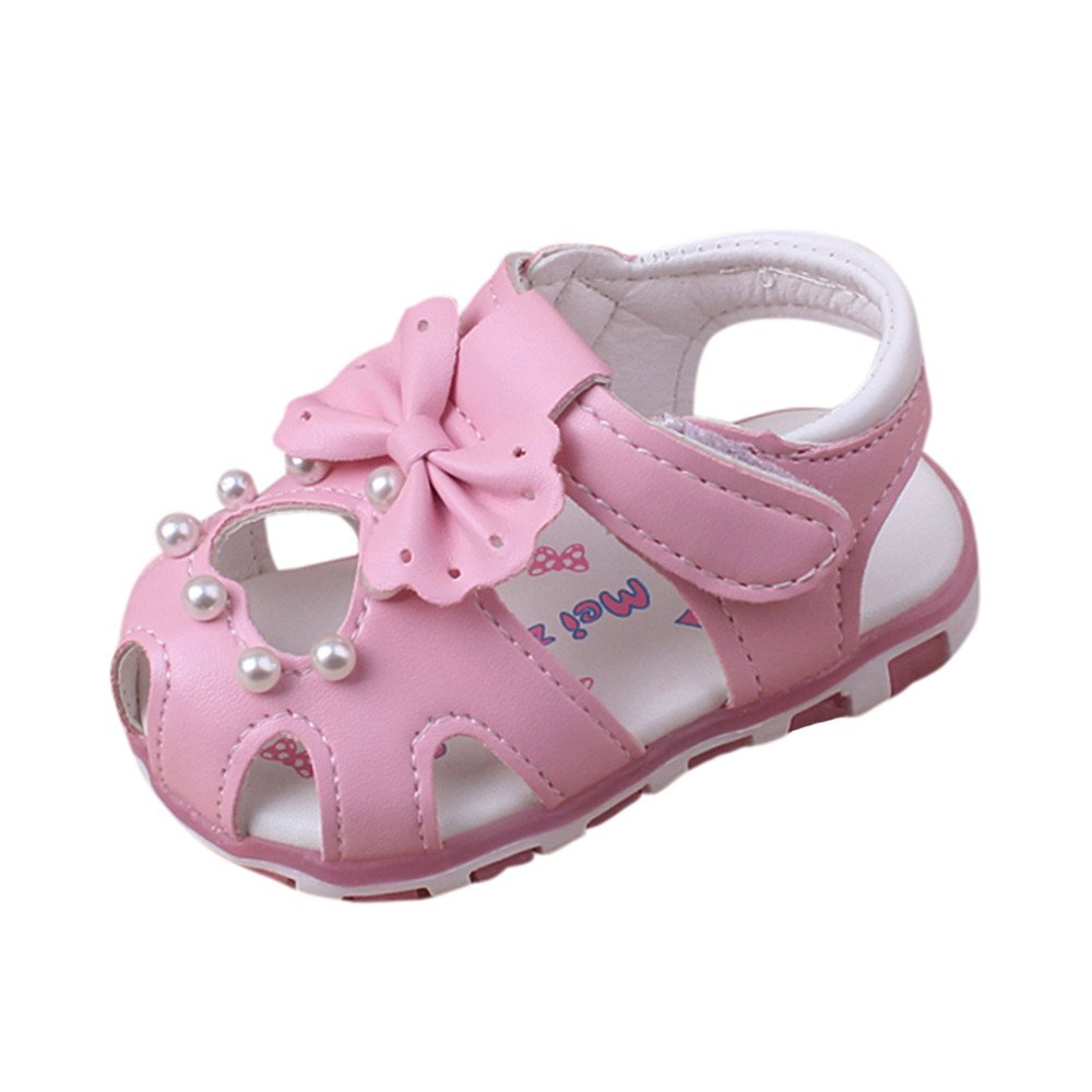 Minshao Baby Fashion Sneaker Pearl Bowknot Children Light Luminous Casual Sandals Shoes For 0~24 Month
