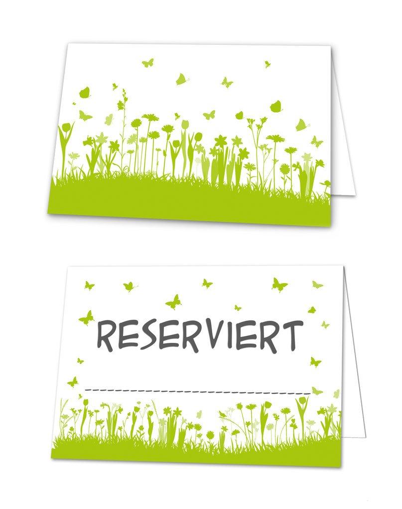 100 Stück Reserviert-Schilder hell-grüne weiße Blümchen Tischkarten Aufsteller Klappkarten zum Hinstellen Tisch-Reservierung Restaurant Hotel für Gäste Hochzeit Kommunion Taufe Geburtstag Jeanette Dietl