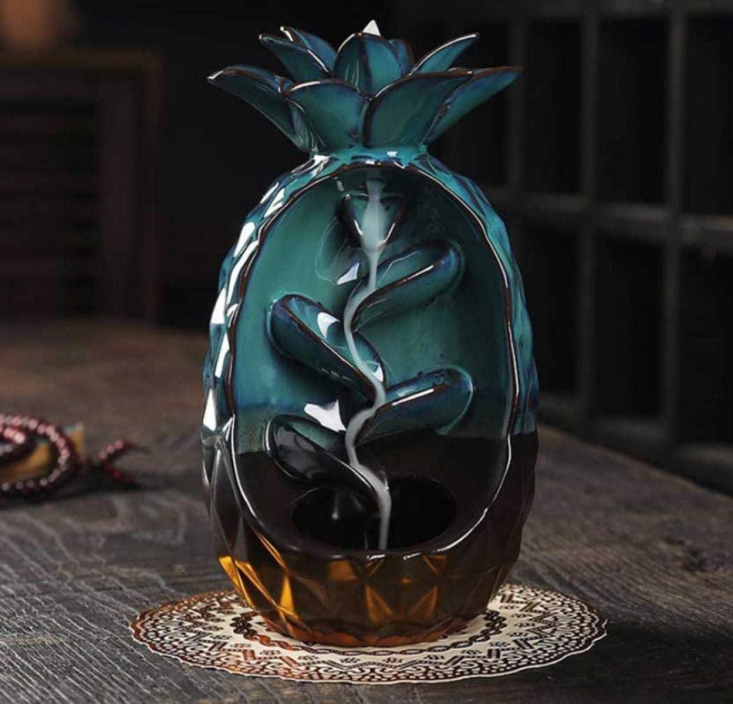Quemador de incienso de cerámica con reflujo de reflujo, bonito soporte para conos de incienso de piña, para decoración del hogar, regalos con 20 conos de incienso y una almohadilla