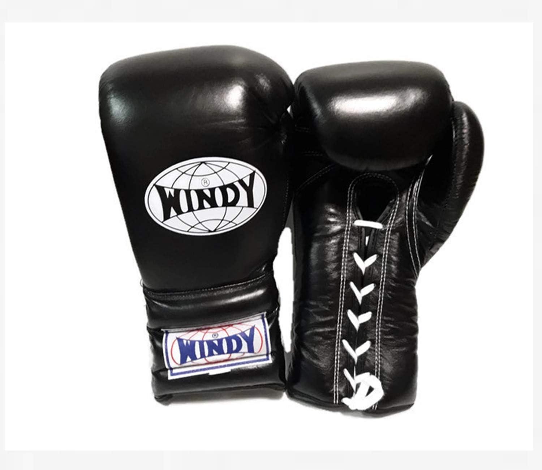 WINDY ボクシンググローブ レースアップ BGL 14,16オンス ブラック ムエタイ キックボクシング MMA K1 スパーリング トレーニンググローブ  16オンス