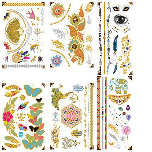 Atia Premium Metallic Temporary Tattoos - 75+ Designs in Gold & Silver Fake Tattoos - Shimmer Jewelry Henna Tattoo - Wrist & Arm Bands Tattoo Temporary, (10 Pattern Options)