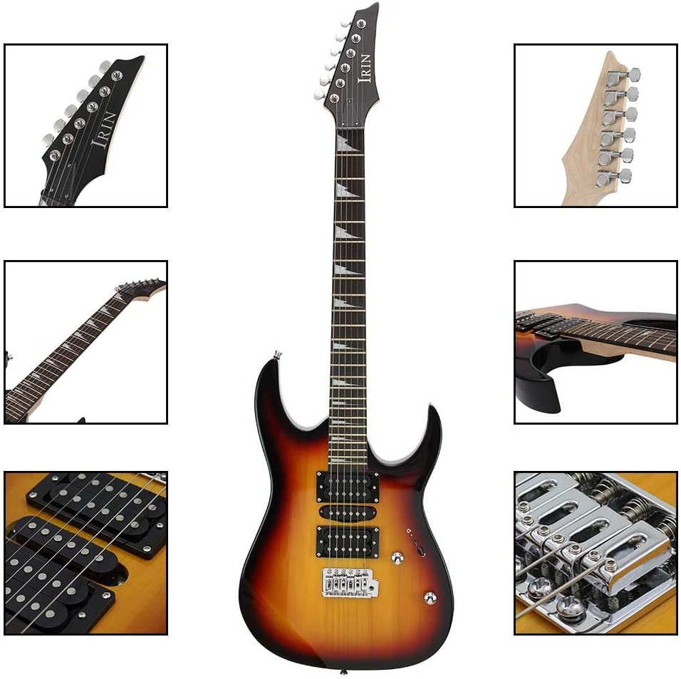 Jdeepued Guitar Maple Rosewood Electric Guitar for Beginners and Adults Guitar Lovers Color : Brown, Size : One Size