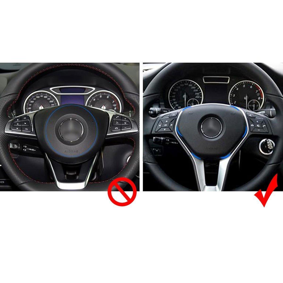 Car 3D Steering Wheel Center Logo Trim Ring for Mercedes Benz B C GLK Xotic Tech Car Interior Decoration Aluminum Alloy Blue Xotic Tech Direct