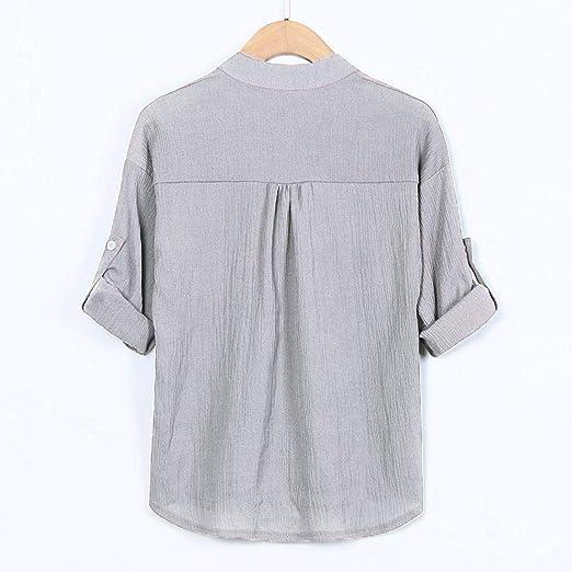 Blusa de Las Mujeres, Stand Collar Camisa de Manga Larga Blusa Casual SunGren Botón Down Tops Tallas Grandes: Amazon.es: Ropa y accesorios