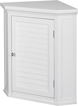 Elegant Home Fashions Glancy Wall Mounted Corner Cabinet Bathroom Kitchen Home Storage Space Saver With 1 Shutter Door 1 Adjustable Inner Shelf White Furniture Decor