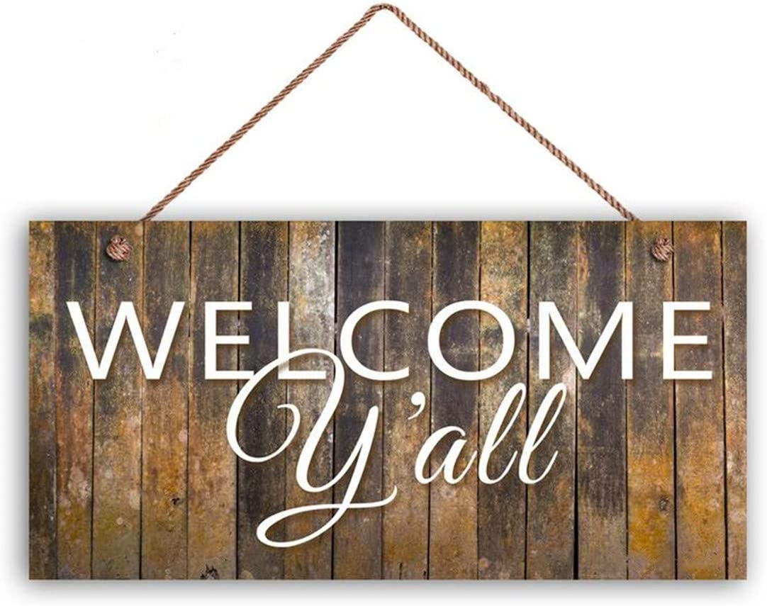 "MAIYUAN Welcome Y'all Sign, Rustic Barnwood Style Decor, Porch Sign, 5"" x 10"" Sign, Southern Hospitality Sign, Housewarming Gift"