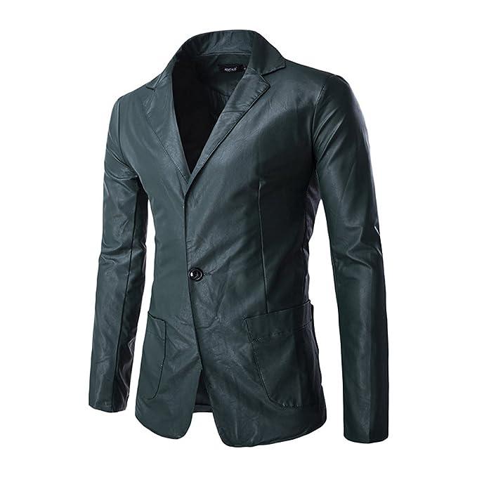 Chaqueta de Traje Cuero de La Pu Blazer Americana para Hombre: Amazon.es: Ropa y accesorios